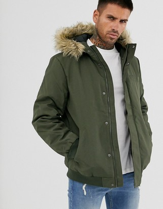 ONLY & SONS short parka with removable faux fur trim on hood-Green