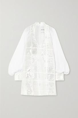 Halpern Sequined Chiffon Mini Dress - White