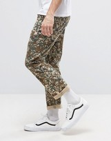 Asos Cropped Straight Pants In Pixel Camo Print