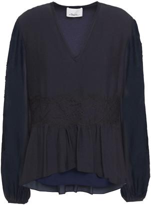 3.1 Phillip Lim Lace-paneled Gathered Silk Blouse