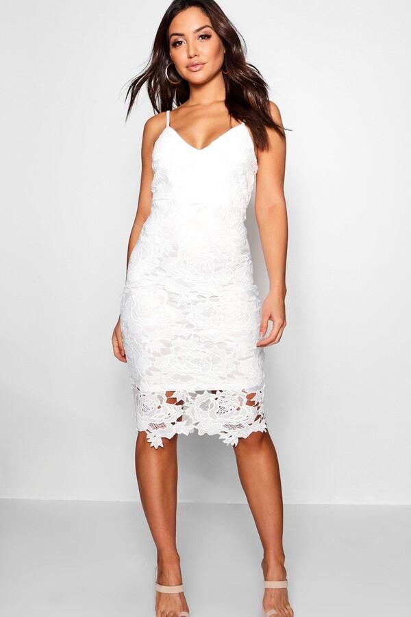 127f55606106f boohoo White Lace Midi Dresses - ShopStyle