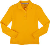 French Toast Long Sleeve Interlock Polo With Picot Collar Long Sleeve Solid Polo Shirt - Preschool Girls