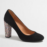 J.Crew Factory Olive glitter-heel pumps