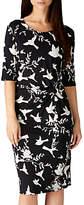 Sugarhill Boutique Jenna Bird Twist Jersey Dress, Black/White
