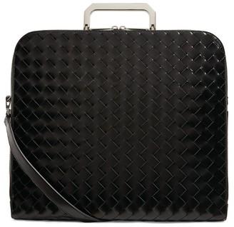 Bottega Veneta Glossy Leather Intrecciato Briefcase
