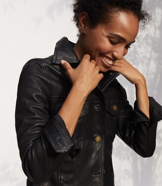 Reiss Piper - Leather Trucker Jacket in Black