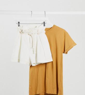 ASOS DESIGN Petite paperbag short in off white with braid belt