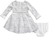 Youngland White & Silver Geometric A-Line Dress & Bloomers - Infant
