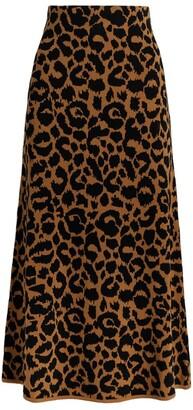 Hayley Menzies Ikat Leopard Midi Skirt