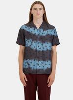 Lanvin Men's Tie-dye Floral Printed Bowling Shirt In Blue