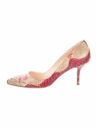 Christian Louboutin Snakeskin Animal Print Pumps Red