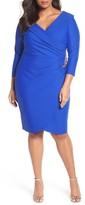 Alex Evenings Plus Size Women's Embellished Faux Wrap Sheath Dress