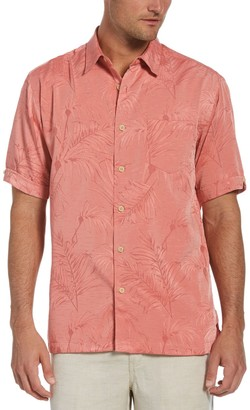 Cubavera Men's Classic-Fit Jacquard Tropical Button-Down Shirt