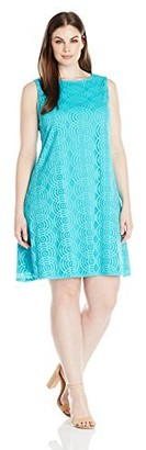 Tiana B T I A N A B. Women's Plus Size Lace Sleeveless Trapeze Dress with Back Keyhole
