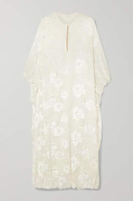 Reem Acra Draped Devore-chiffon Midi Dress - White