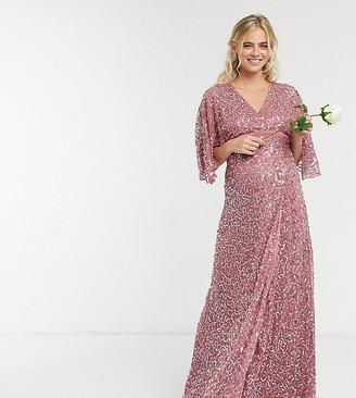 Maya Maternity delicate sequin wrap maxi dress in rose