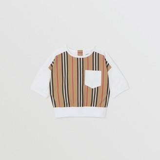 Burberry Childrens Icon Stripe Panel Cotton T-shirt