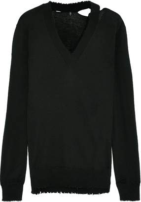 R 13 Misaligned Distressed Cashmere Sweater