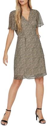 Vero Moda Kay Cheetah Print Wrap Minidress