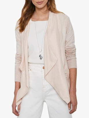 Mint Velvet Stud Waterfall Cardigan, Light Pink