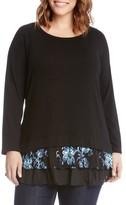 Karen Kane Plus Size Women's Flower Embroidery Layered Hem Top