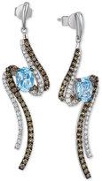 LeVian Le Vian Blue Topaz (1-5/8 ct. t.w.) and Diamond (1 ct. t.w.) Drop Earrings in 14k White Gold