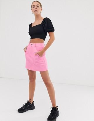 Asos Design DESIGN washed cotton mini skirt-Pink