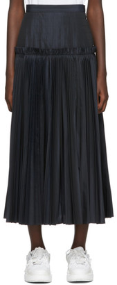Enfold Navy Pleated Taffeta Skirt