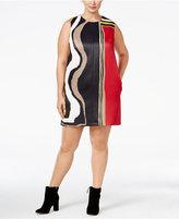 Rachel Roy Curvy Trendy Plus Size Mixed-Print Shift Dress