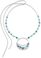 Nine West Silver-Tone Blue Stone Adjustable Pendant Necklace