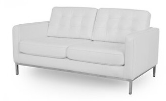 """Agostini Mid-Century Leather 62"""" Square Arms Loveseat Corrigan Studio Upholstery Color: White"""