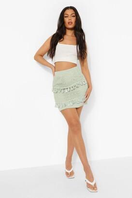 boohoo Lace Tassel Trim Mini Skirt