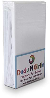 Dudu N Girlie Terry Cotton 100 Percent Waterproof Cot Bed Mattress Protector Fitted Sheet.