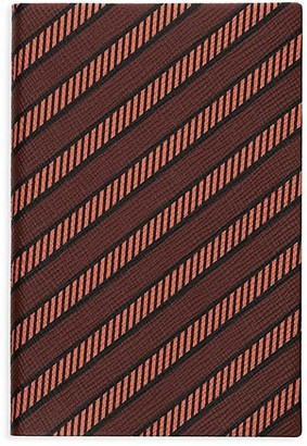 Smythson P/G Chelsea Diagonal Stripe Leather Notebook