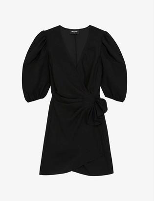 The Kooples Puff-sleeve woven mini wrap dress