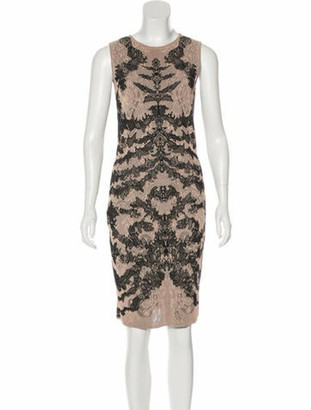 Alexander McQueen Printed Sleeveless Dress Brown