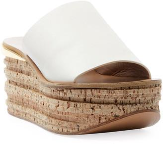 Chloé Leather Platform Slide Sandals