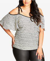 City Chic Trendy Plus Size Cold-Shoulder Flutter-Sleeve Top