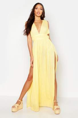 boohoo Cheesecloth Plunge Maxi Dress