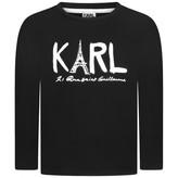 Karl Lagerfeld LagerfeldGirls Black Eiffel Tower Print Top