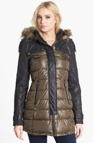 Sam Edelman Circus by Faux Leather Sleeve Quilted Coat