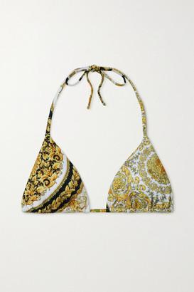 Versace Printed Triangle Bikini Top - Gold