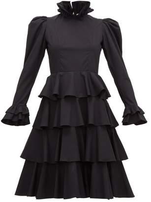 Batsheva Confection Puffed-sleeve Tiered Cotton Dress - Womens - Black