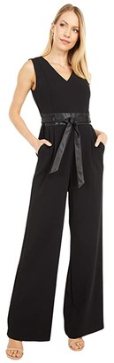Calvin Klein V-Neck Jumpsuit with Faux Leather Waist and Belt (Black) Women's Jumpsuit & Rompers One Piece