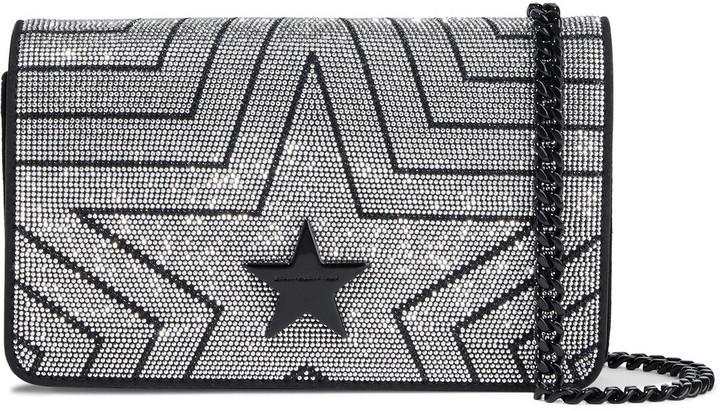 Stella McCartney Stella Star Crystal-embellished Velvet Shoulder Bag
