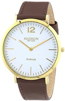 Madison New York G4741E2 Unisex Watch Avenue Analogue Quartz Leather