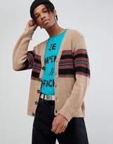 Asos Textured Cardigan With Vintage Stripe In Tan