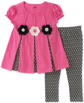 Kids Headquarters 2-Pc. Pleated Flowers Tunic and Leggings Set, Baby Girls (0-24 months)
