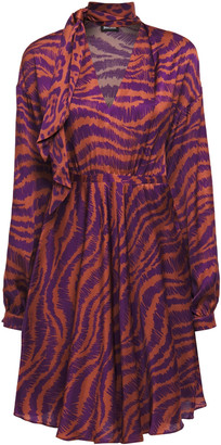 Just Cavalli Tie-neck Gathered Zebra-print Satin Mini Dress