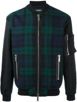 DSQUARED2 tartan pattern bomber jacket - men - Cotton/Calf Leather/Polyamide/Wool - 48